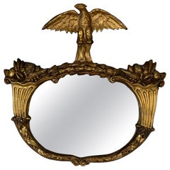1840s Period Giltwood and Gesso Americana Mirror with Eagle & Cornucopia Design