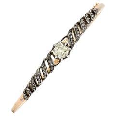 1840's Victorian Old Mine Diamond Silver Topped 18 Karat Gold Bangle Bracelet