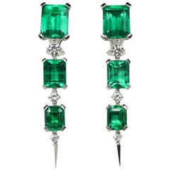18.41 Carat Natural Colombian Emerald White Gold Diamond Earrings