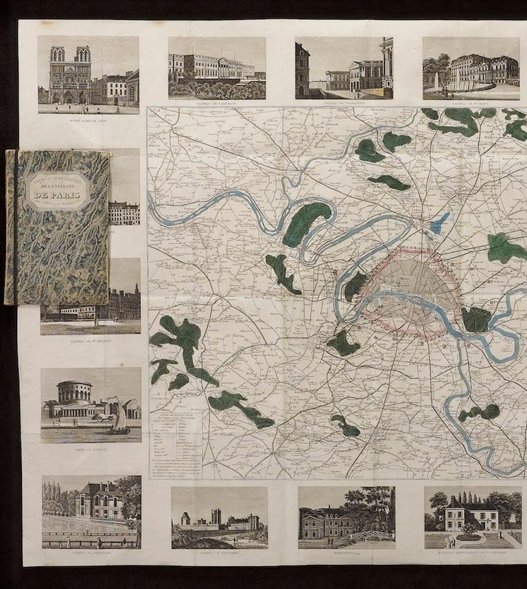 This beautiful hand-colored road map of Paris was published in 1841. The map shows Paris and the surrounding area in a folding pocket map. Organized and detailed for travelers, this map shows rivers, towns, parks, and numbered roadways. Along the