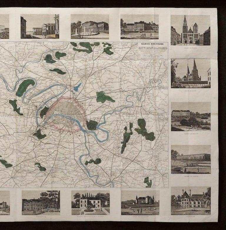 French Antique Map of Paris,