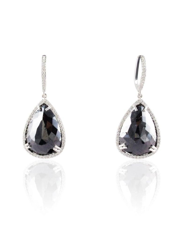 18 42 Carat Total Pear Shaped Black Diamond Dangle Earrings In 14 K White Gold