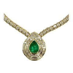 18.44 Carat Colombian Emerald Necklace in 18k Yellow Gold