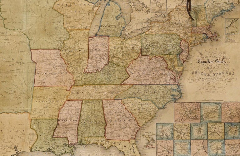 1844 Map of the United States, Antique Map, Featuring the Republic of Texas In Good Condition For Sale In Colorado Springs, CO