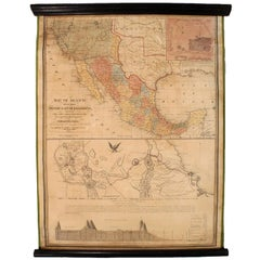 1847 Antique Map of Mexico, Texas and California by Samuel Augustus Mitchell