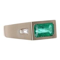 1.84tcw 14K Three Stone Colombian Emerald & Tapered Diamond Gypsy Ring
