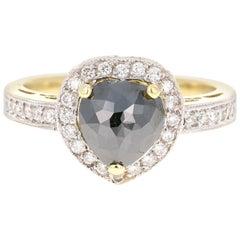 1.85 Carat Black and White Diamond 14 Karat Yellow Gold Ring