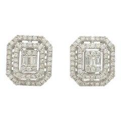 1.85 Carat Diamond 10 Karat White Gold Stud Earrings