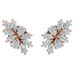1.85 Carat Diamond 18 Karat Gold Cluster Stud Earrings