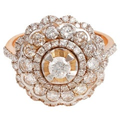 1.85 Carat Diamond Antique Style 18 Karat Rose Gold Ring