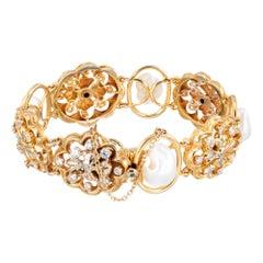 1.85 Carat Diamond Freshwater Pearl Victorian Revival Style Bracelet