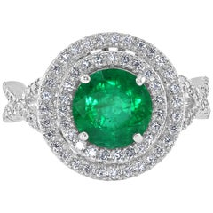 1.85 Carat Emerald and Diamond White Gold Cocktail Ring