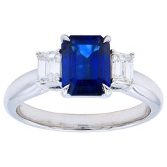 1.85 Carat Emerald Cut Sapphire Ring with Emerald Diamond Side Stones