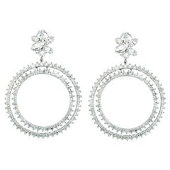 18.5 Carat Large Circle Diamond Hoop Gala Cocktail Earrings 18 Karat White Gold