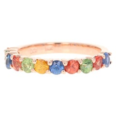 1.85 Carat Multicolored Sapphire 14 Karat Rose Gold Stackable Band