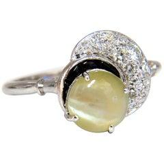 1.85 Carat Natural Cabochon Chrysoberyl Cats Eye Diamonds Ring 14 Karat Crescent