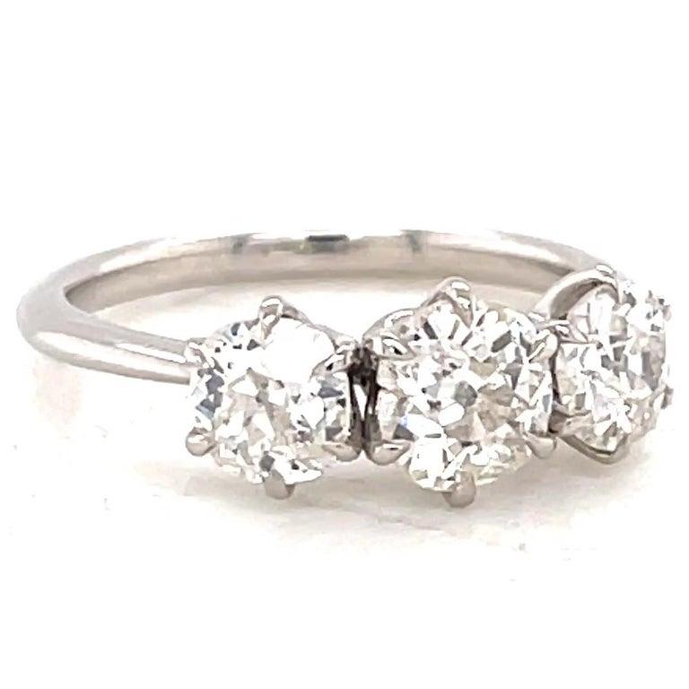 Victorian 1.85 Carat Old Mine Cut Diamond Platinum Three Stone Ring For Sale