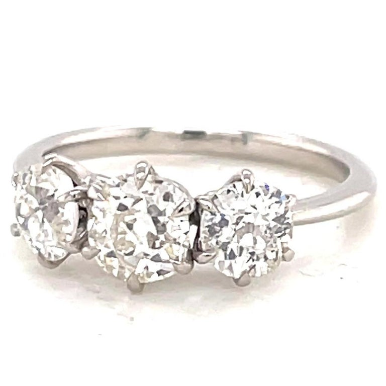 1.85 Carat Old Mine Cut Diamond Platinum Three Stone Ring In New Condition For Sale In Beverly Hills, CA
