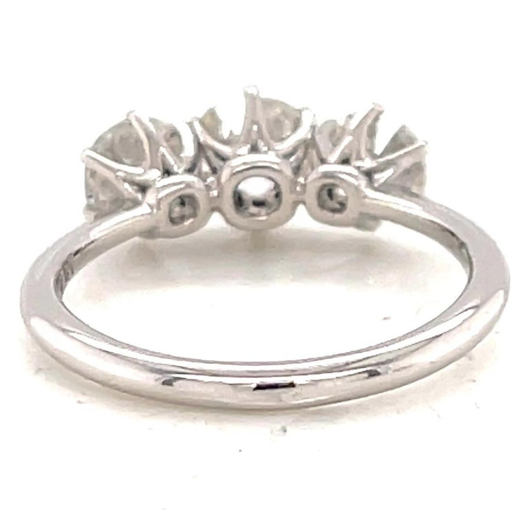 Women's or Men's 1.85 Carat Old Mine Cut Diamond Platinum Three Stone Ring For Sale