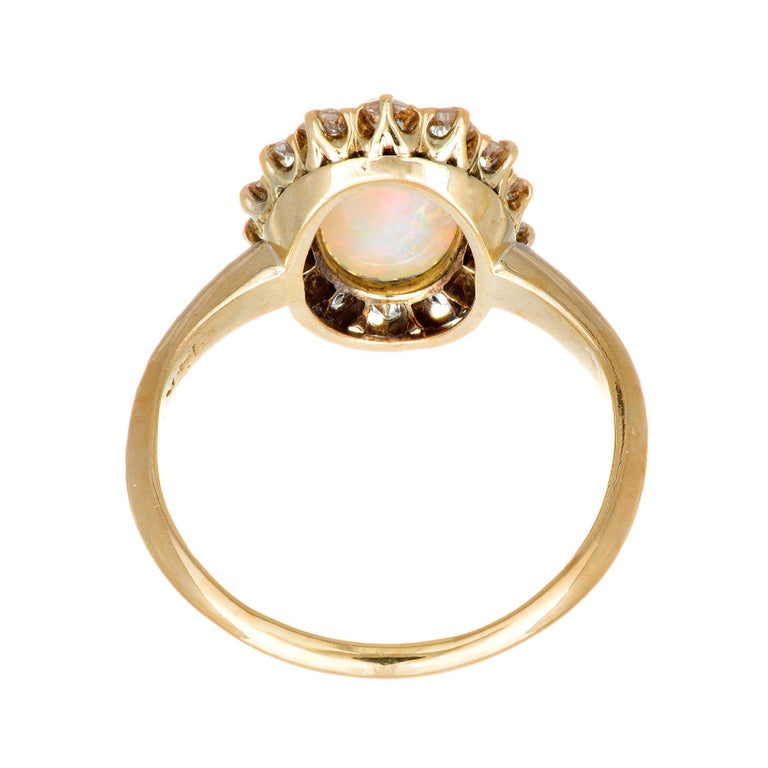 Oval Cut 1.85 Carat Opal Diamond Halo Yellow Gold Engagement Ring