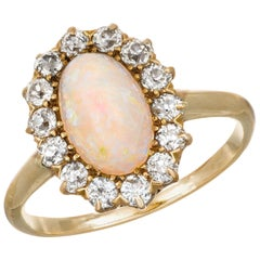 1.85 Carat Opal Diamond Halo Yellow Gold Engagement Ring