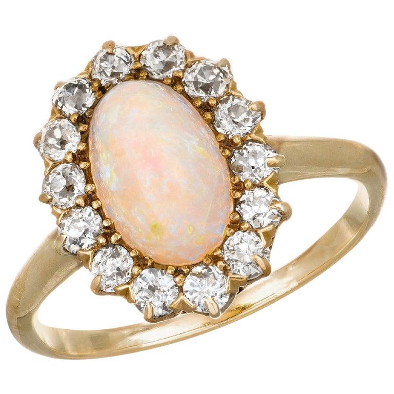 1.85 Carat Opal Diamond Halo Yellow Gold Engagement Ring