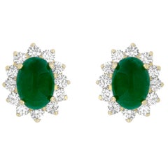 1.85 Carat Oval Cabochon Emerald and White Diamond Stud Earring