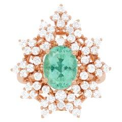 1.85 Carat Paraiba Tourmaline and Diamond Ring