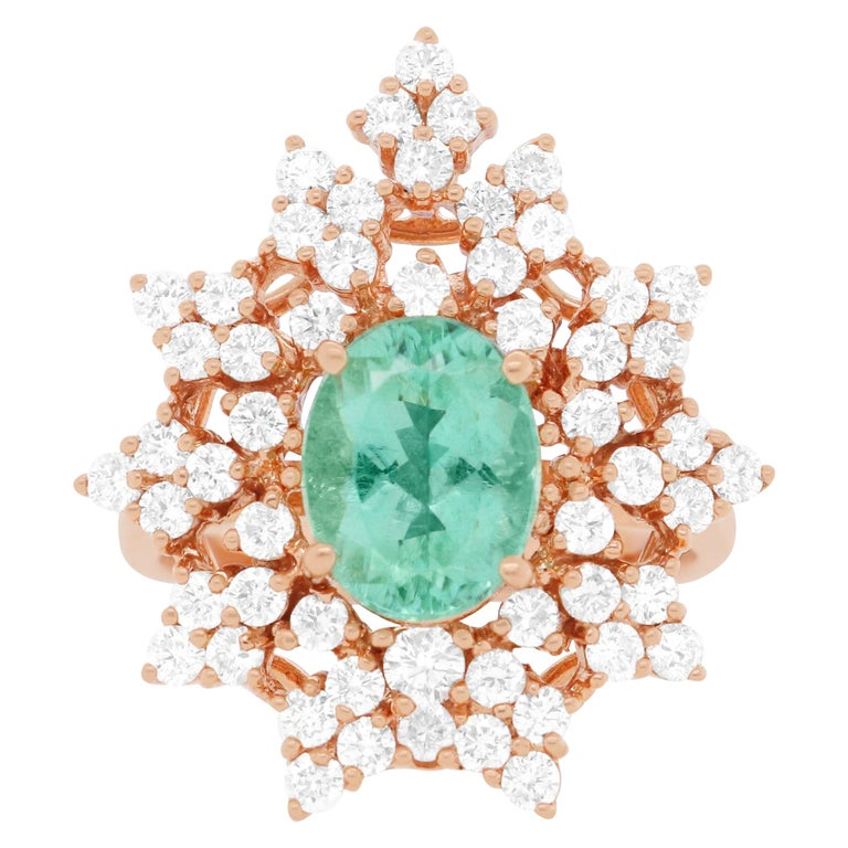Oval Natural Paraiba Tourmaline Round White Diamond Cocktail Ring 14K Rose Gold For Sale