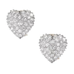 1.85 Carat Pave Diamond Two-Tone Gold Heart Domed Clip Post Earrings