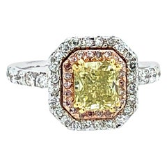 1.85 Carat Radiant GIA Cert Fancy Intense Yellow and Pink Diamond Ring 18kt Gold
