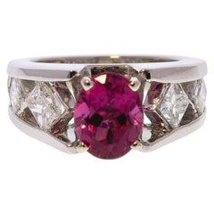 1.85 Carat Rubellite Tourmaline and Diamond Ring in Platinum