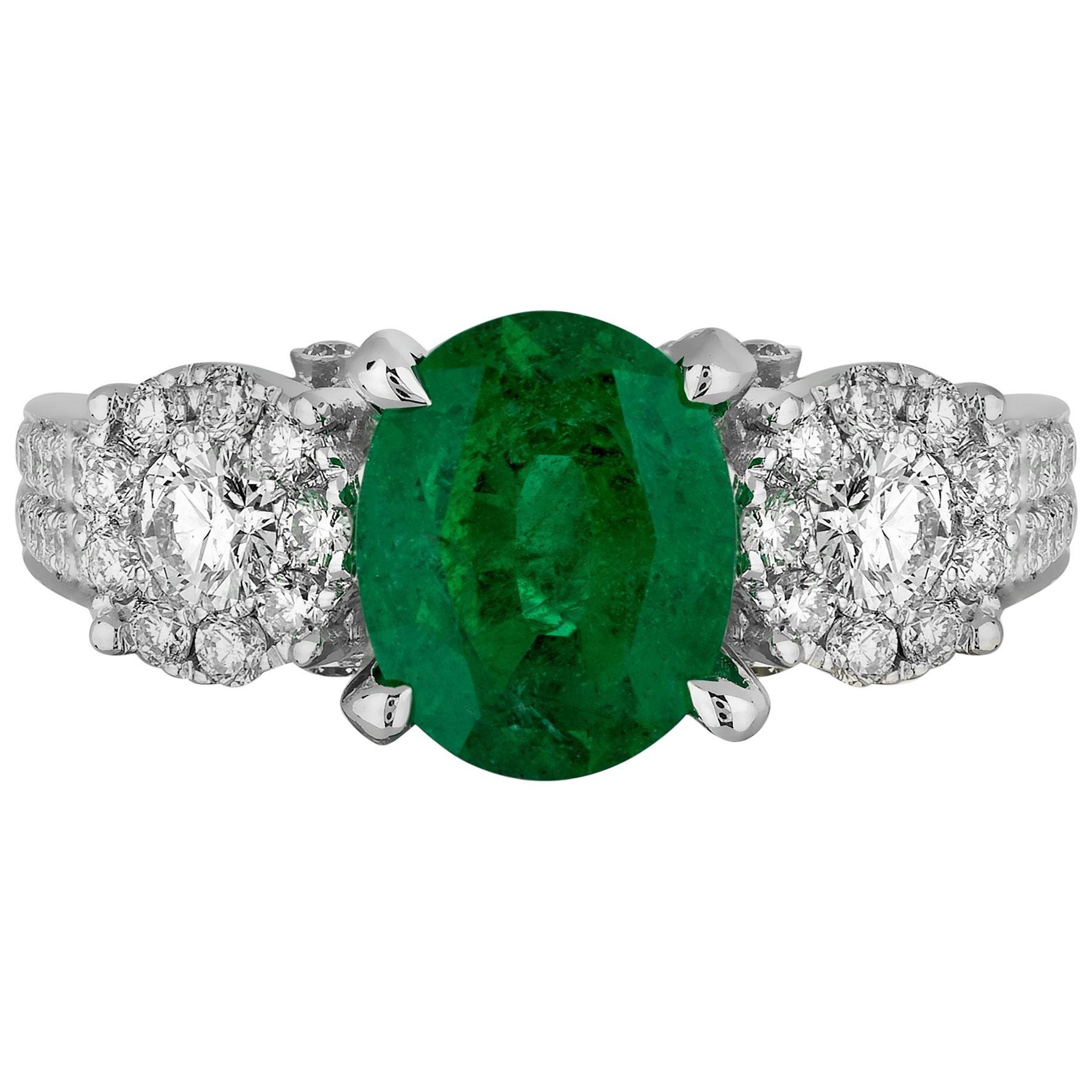 1.85 Carat Zambian Emerald Diamond Cocktail Ring