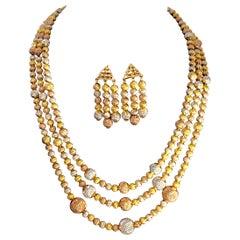185 Gm 22 Karat Tricolor Gold Necklace & Earring Suite Bridal Princess Necklace