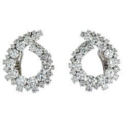 18.50 Carat Diamonds Concentric Swirl Platinum Earrings