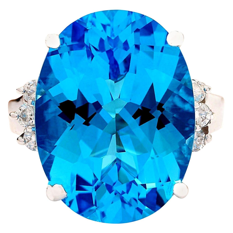 18.50 Carat Natural Topaz 18 Karat Solid White Gold Diamond Ring