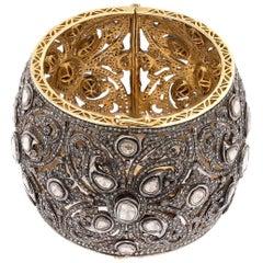 18.50 Carat Rose Cut White and Brown Diamond Silver Gold Cuff Bracelet