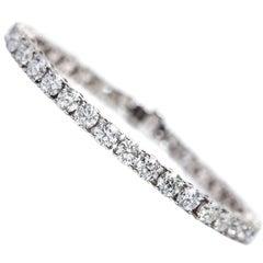 18.50 Carat Round Diamond 18 KT White Gold Classic Line Tennis Bracelet