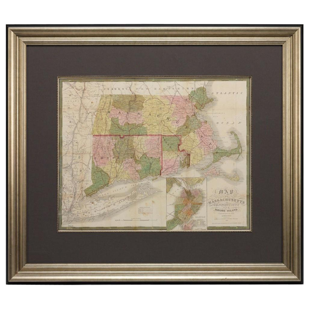 1850 Map of Massachusetts, Connecticut, and Rhode Island, Antique, Hand-Colored