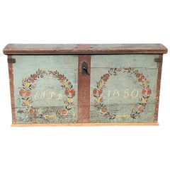 1850 Swedish Chest Blanket Box Original Polychromatic Jamtland Paint Finish Blue
