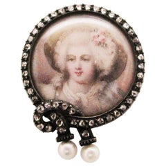 1850 Victorian Silver Over 14 Karat Yellow Gold Diamond and Pearl Portrait Pin