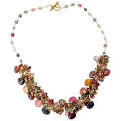 185.00 Carat Tourmaline Purple Pink Green Blue White Gold Necklace