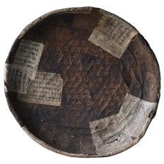1850s-1920s Wabisabi-Art Japanese Basket Paper-Covered Rattan Abstract Art