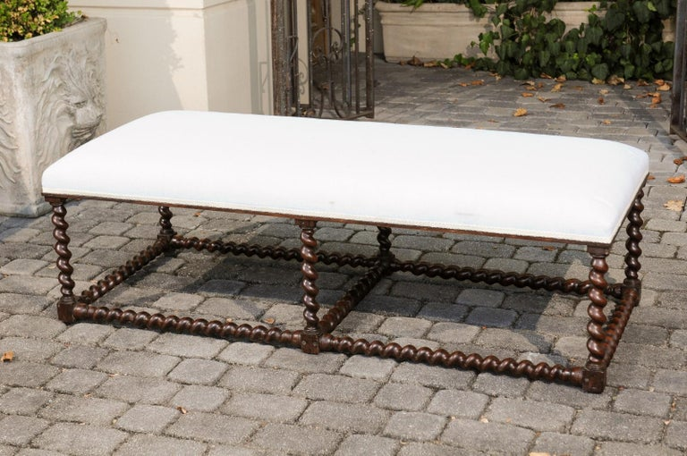 1850s Anglo Indian Oak Bench with Barley Twist Base and New Upholstery For Sale 4