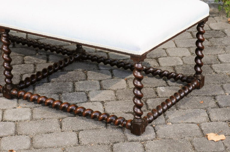 Turned 1850s Anglo Indian Oak Bench with Barley Twist Base and New Upholstery For Sale