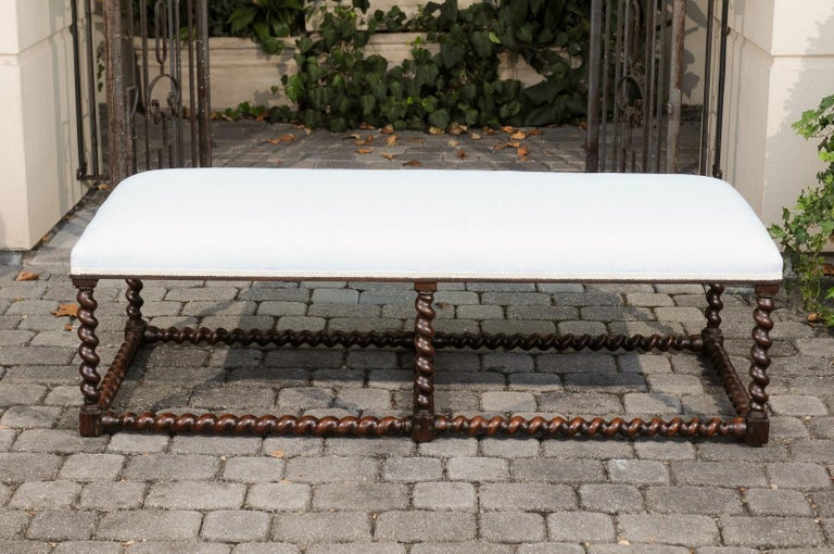 1850s Anglo Indian Oak Bench with Barley Twist Base and New Upholstery In Good Condition For Sale In Atlanta, GA