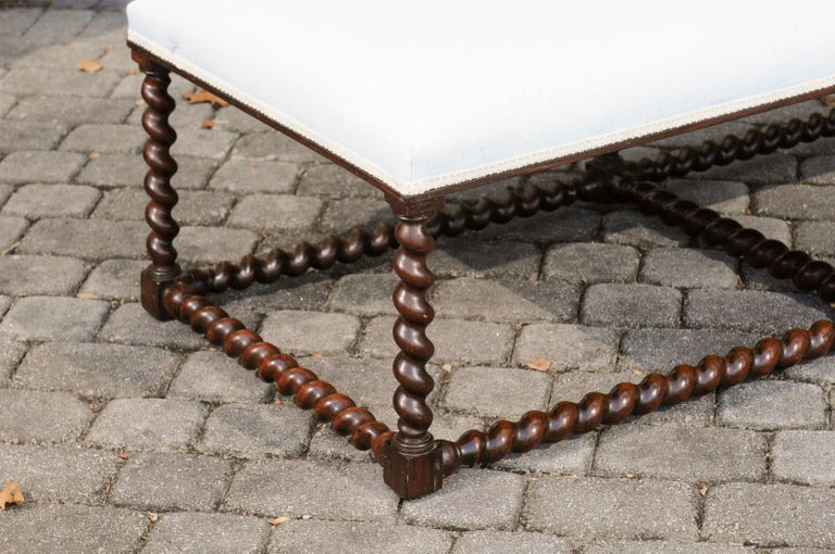 1850s Anglo Indian Oak Bench with Barley Twist Base and New Upholstery For Sale 1
