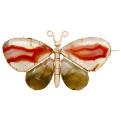 1850s Antique Agate and Yellow Gold Butterfly Brooch