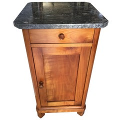 1850s Biedermeier Cherry Tree Commode with Original Marble Top