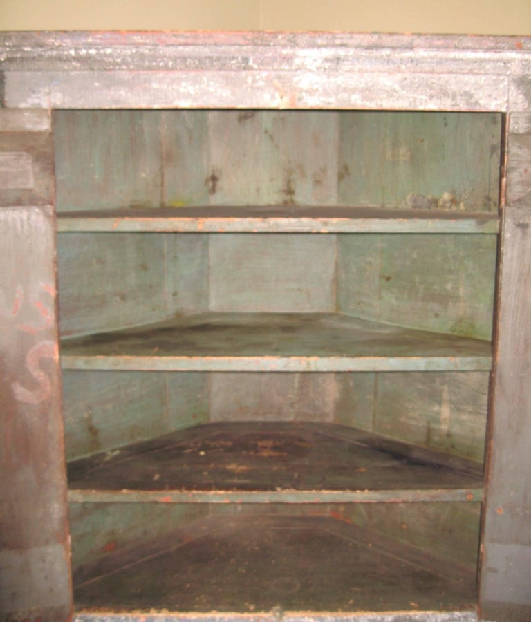1850s Corner Cupboard Rustic Farm House Pine Cabinet For Sale 5
